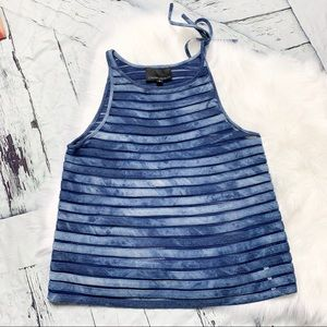 Cynthia Rowley sheer denim striped tank